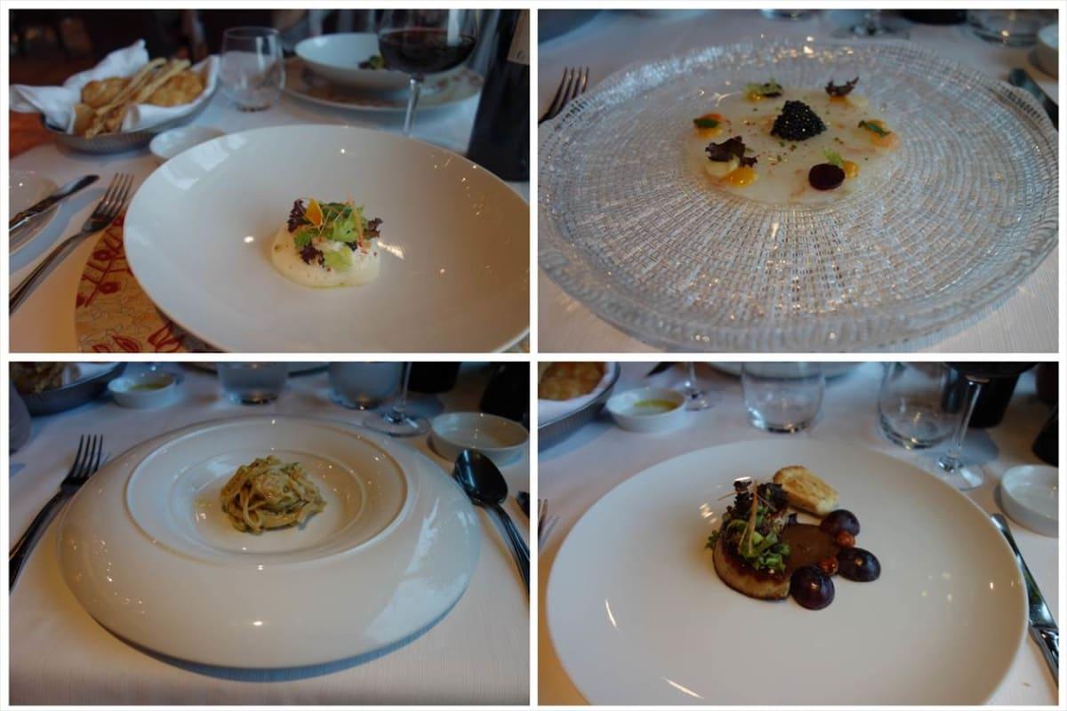 「カサノバ」のコース料理。   左上から時計回りに「チーズとトマトのオリーブムース添え」、(右上)「海老とキャビアのカルパッチョ」・・キャビア山盛りでーす(^.^)、(右下)「フォアグラのロースト」・・今まで食べた中で一番でかく・甘いものでした(^.^)v、(左下)(1皿目メインディッシュ)「蟹ブイヨンとレモンピールの自家製スパゲッティ」・・周囲が常に熱くなっている皿に乗った特上スパでした(*^。^*) | 客船コスタ・ネオロマンチカのダイニング、フード&ドリンク、船内施設
