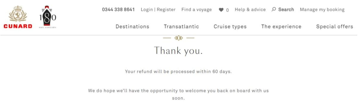 返金申請登録完了画面。 受付番号や受付完了メール等は届きませんでした。 60日で返金と書かれていますが、78日経過(2020.6.29)してもまだTax&Feeしか戻ってきていません。
