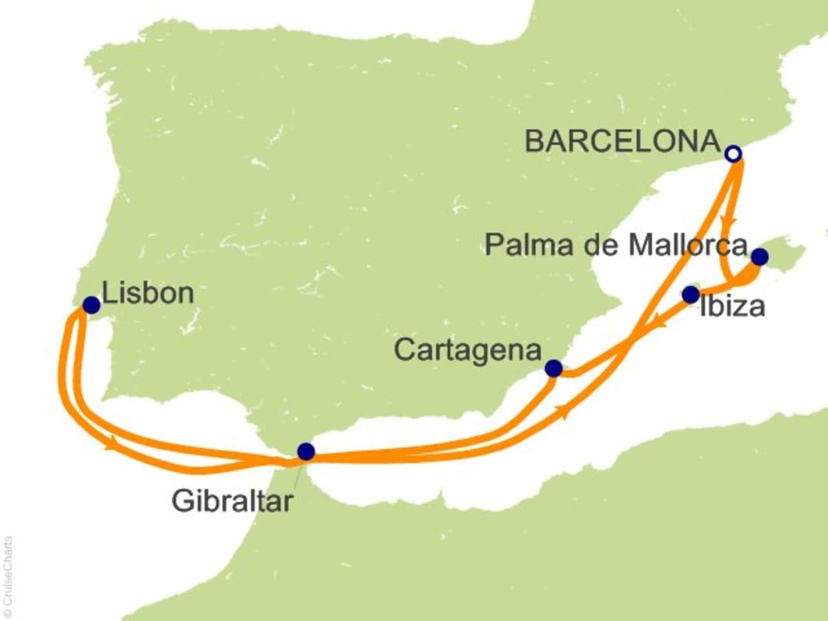 イベリア半島南半周クルーズ。 ジブラルタル海峡を抜けて大西洋へ! 8泊でリスボンもジブラルタルにも行くRCIでは珍しいコースです。