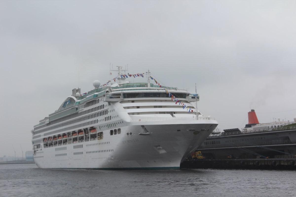 横浜・大桟橋に停泊し出港を待つサン・プリンセス | 横浜での客船サン・プリンセス