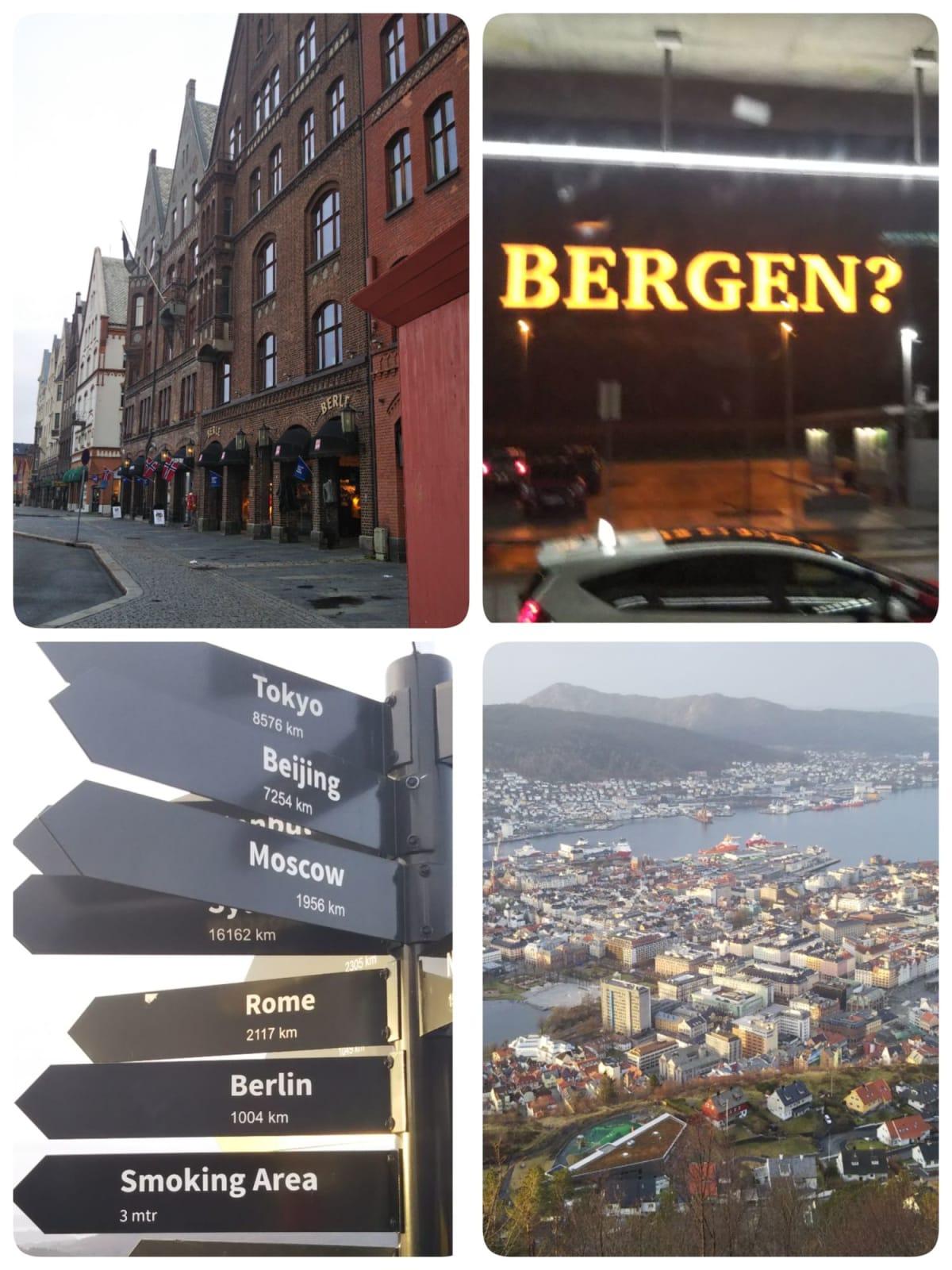 ベルゲン→ブリッゲンの街並み・フロイエン山頂から街を一望。山頂に東京までの距離が記されていました。