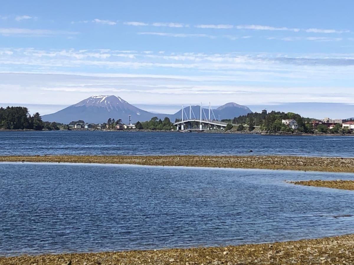 寄港地シトカ、左奥の山は「シトカ富士」。 特に印象に残るような寄港地ではなく、普通でした。 アメリカの国鳥の、白頭鷲は、頻繁ではないですが、各寄港地で1~2回ほど見ます。ここでも。 | シトカ(アラスカ州バラノフ島)