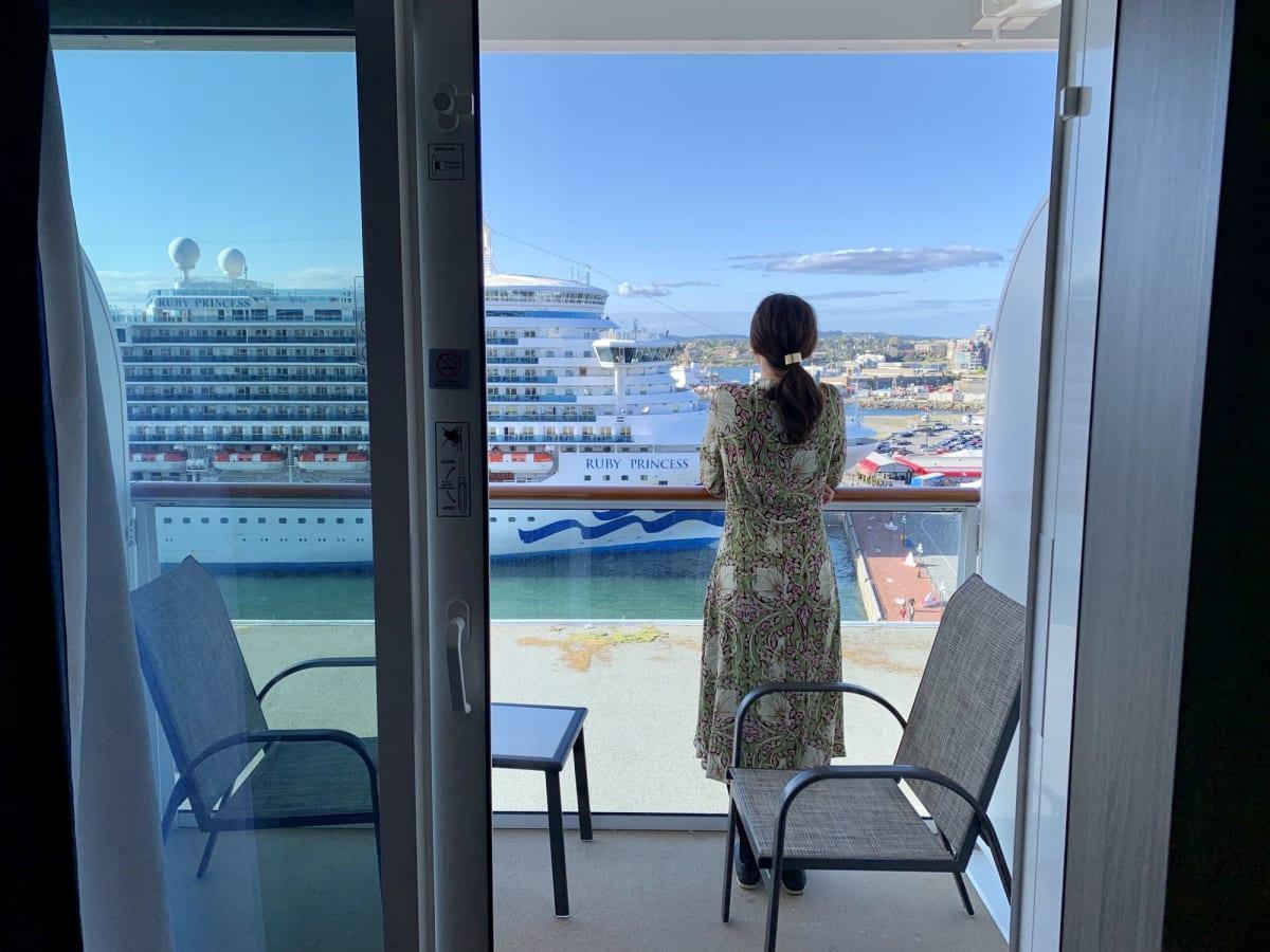 今回はバルコニー付きのお部屋にしました♡ | 客船ノルウェージャン・ブリスの客室、クルー