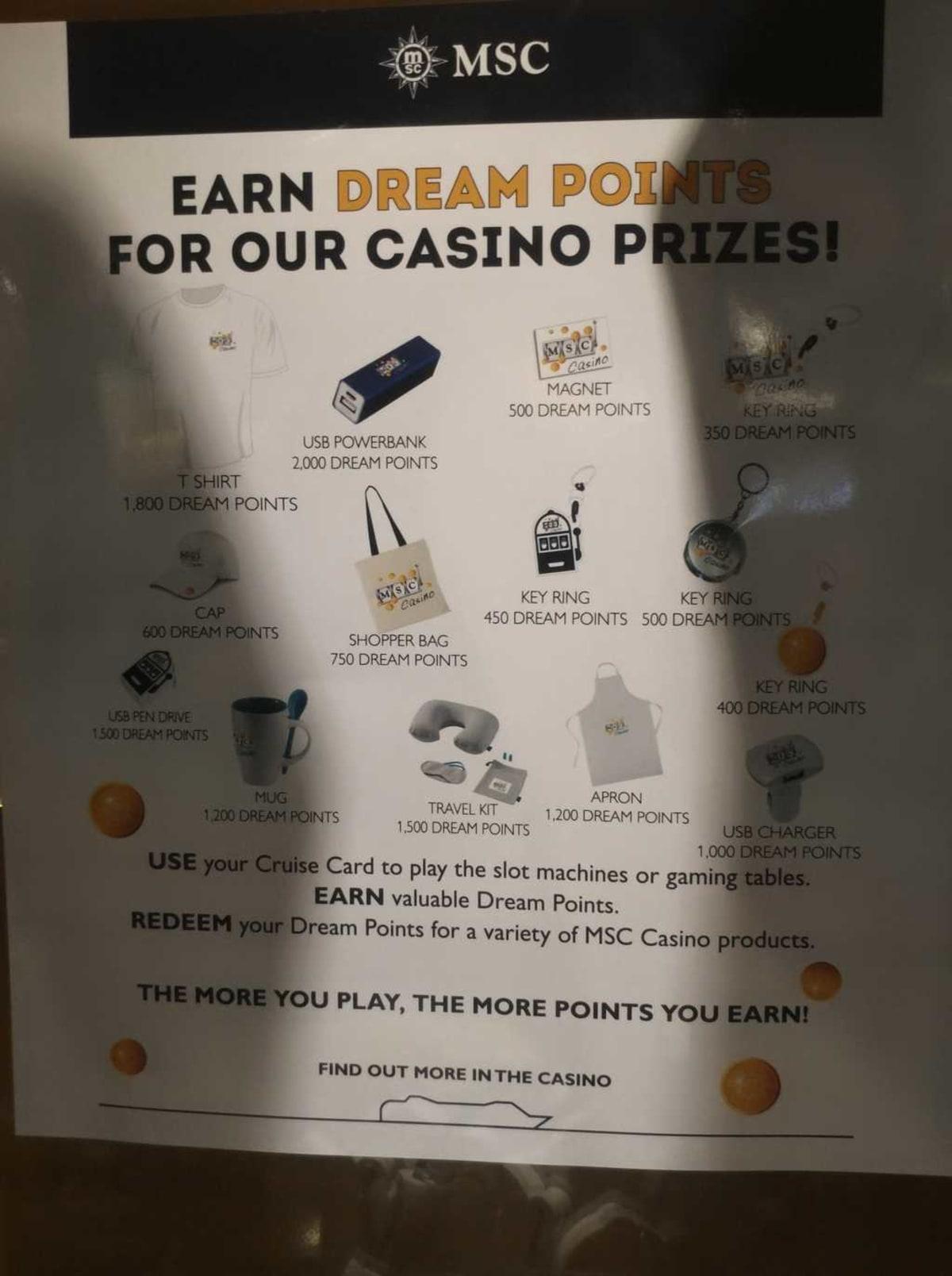 カジノで遊ぶとクルーズカードにDREAM POINTSが貯まり、グッズと交換できます。 | 客船MSCスプレンディダのアクティビティ