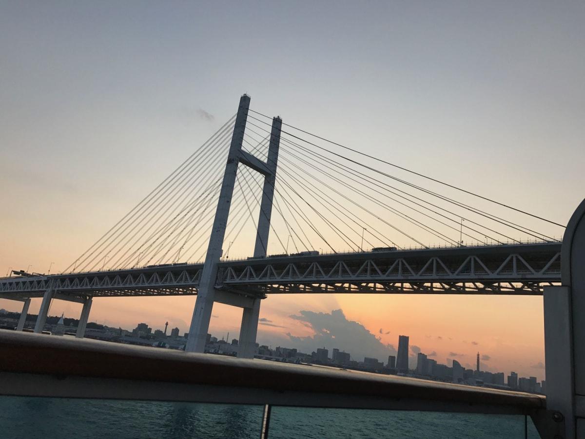 -横浜出航-   レインボーブリッジを通る時に見た夕焼けはとても綺麗でした | 横浜