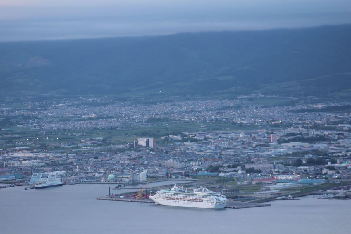 函館山展望台からサン・プリンセスを望む | 函館での客船サン・プリンセス