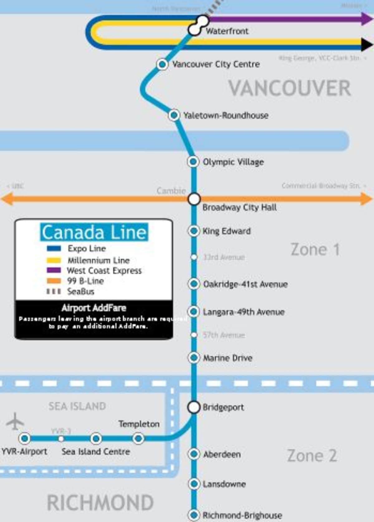 バンクーバー国際空港からクルーズ最寄り駅まではサブウェイのカナダラインがお勧めです。