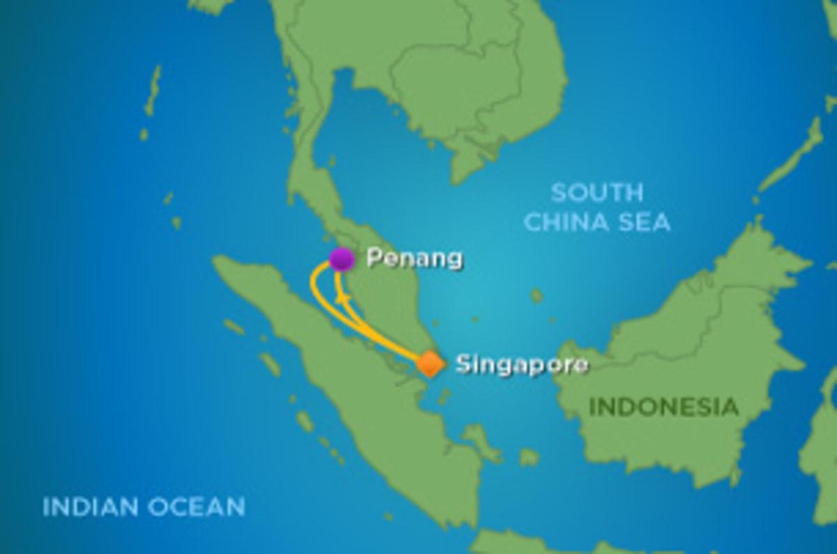 深夜便利用の最短日数で乗船可能なペナン島往復の3日間のショートクルーズ。
