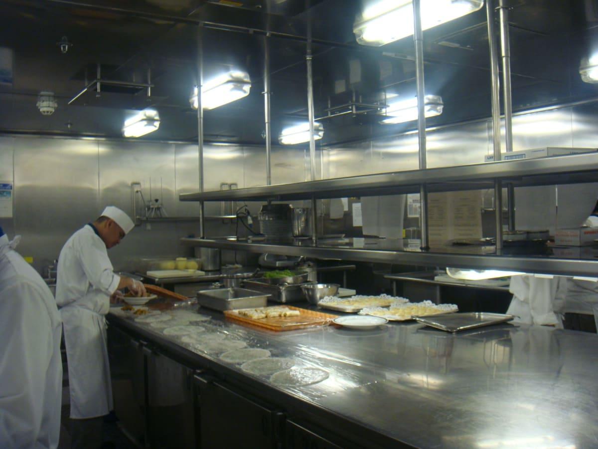 厨房。こんなにゆったりしているのは、もちろん厨房ツアー中だから。 食事時は戦場のように忙しいんだろうなあ。 | 客船フォーレンダムのクルー、フード&ドリンク、アクティビティ