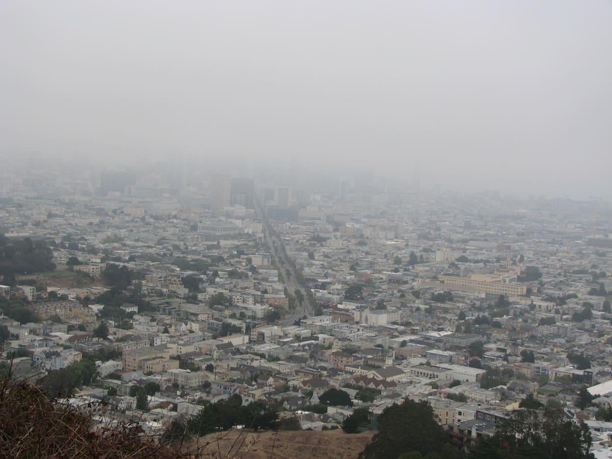 高台まで登って来ました。眼下にマーケット通りがかすんで見える。 | サンフランシスコ(カリフォルニア州)