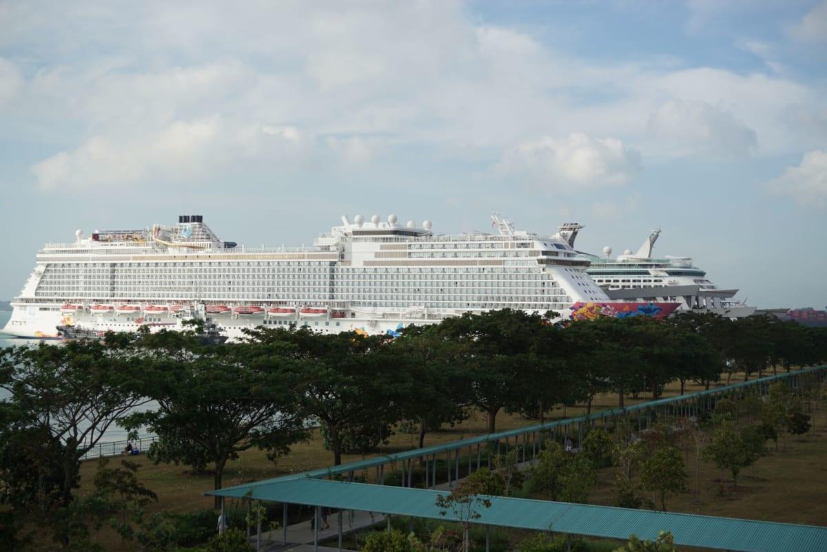 マリーナサウスピア(フェリーターミナル)のルーフトップガーデンからのマリーナベイクルーズセンター方面の眺め。 ゲンティンドリームが邪魔してボイジャーが見えなくて残念。 | シンガポールでの客船ボイジャー・オブ・ザ・シーズ