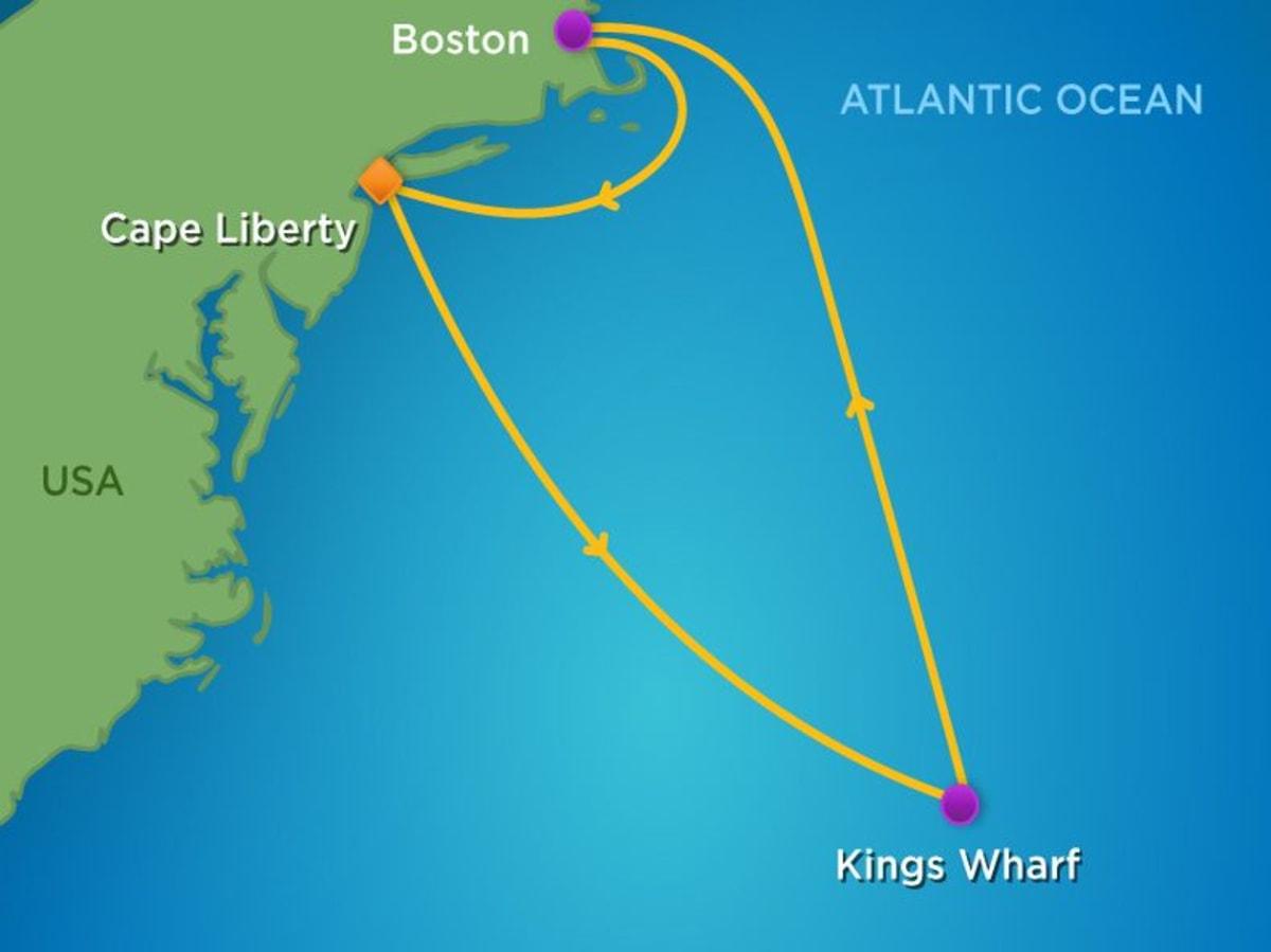 ベヨーン(NJ)→キングスワーフ(バミューダ)→ボストン→ベヨーンの7泊8日クルーズ