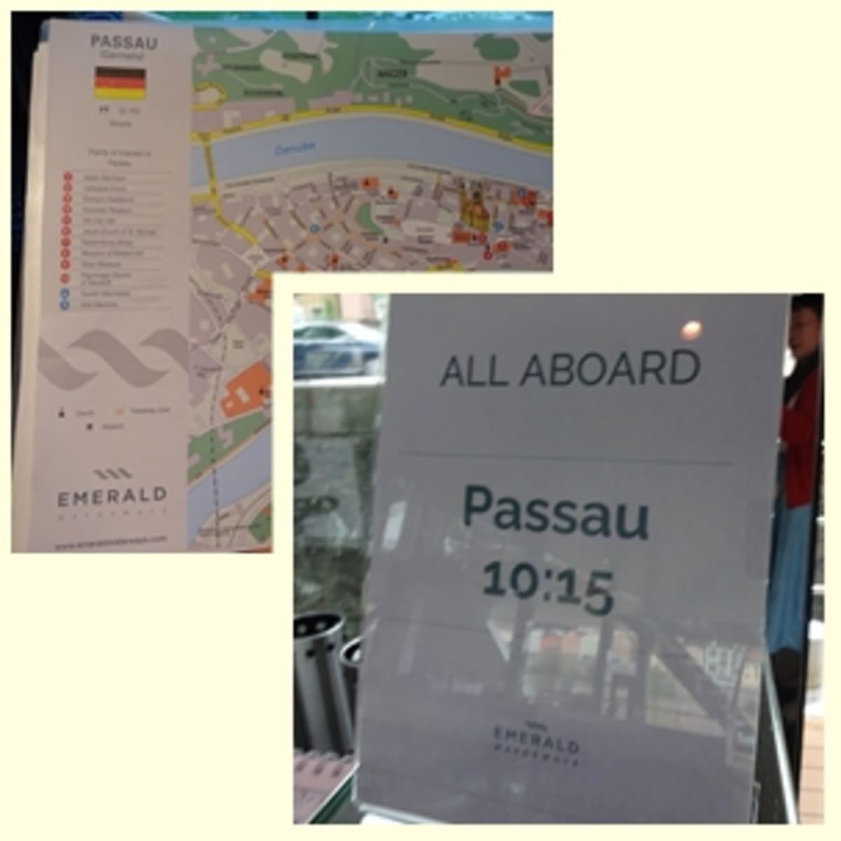 寄港地では、アドレスと地図が配布されて。乗船厳守の時間をチェック! | パッサウでの客船エメラルド・デスティニー