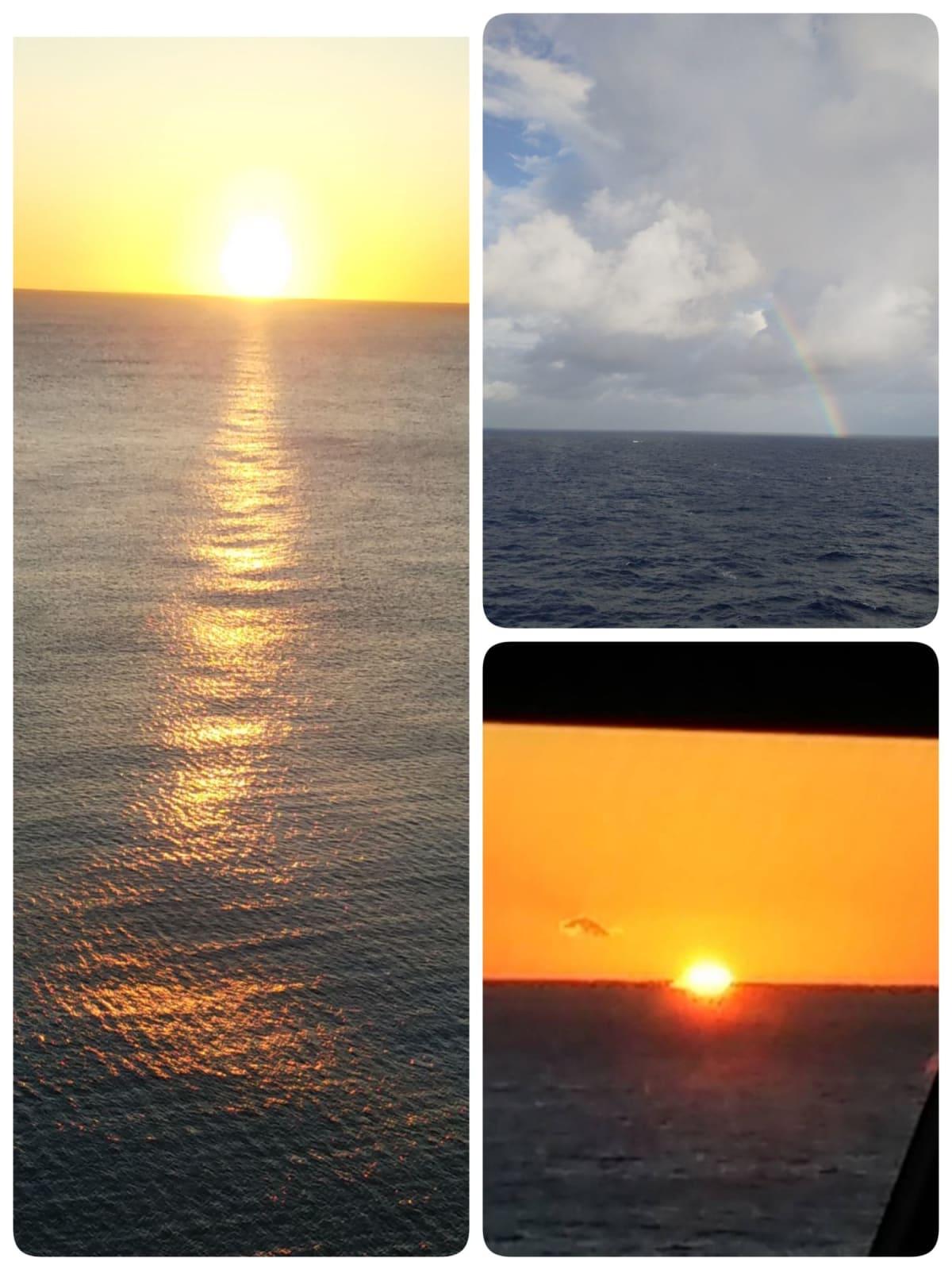 今回のクルーズ期間中に、日の出・日の入り・虹を数回見ることができた