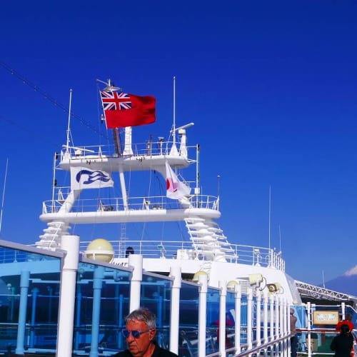 清水へ向けて航行中 | 清水(静岡)での客船ダイヤモンド・プリンセス