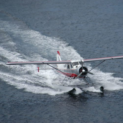 水上飛行機の着水 | ケチカン(レビジャヒヘド諸島 / アラスカ州)