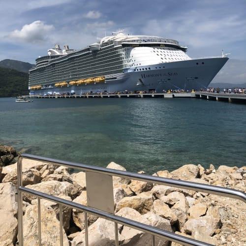 ラバティにて。ようやく船の全体を写真に収めることができました。 | ラバディでの客船ハーモニー・オブ・ザ・シーズ