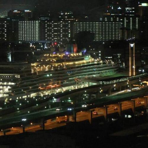 出航を待つQE(神戸市役所・展望室より) | 神戸での客船クイーン・エリザベス
