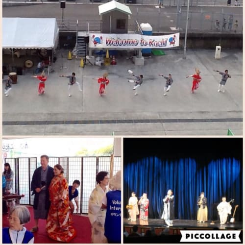 清水港では、クルーズターミナル内でお箏の演奏、お茶席、着物での記念撮影などのサービスが。 高知ではよさこい踊りでのお見送り。 函館では江差追分の公演が船のシアターでありました。 | 清水(静岡)