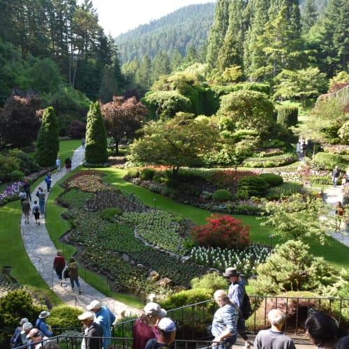ブッチャートガーデンの一部で石灰石を掘った跡を庭園にしたところだそうです。  日本庭園はここから坂を上がった反対側にあります。 | ビクトリア(バンクーバー島)