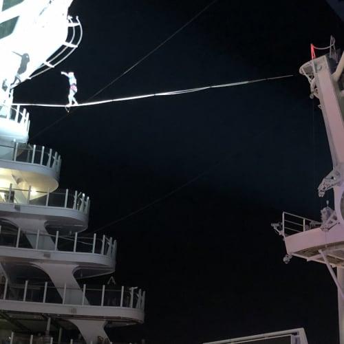 アクアシアタ―でのショー。随分高いところを歩いていました。 | 客船ハーモニー・オブ・ザ・シーズのアクティビティ、船内施設
