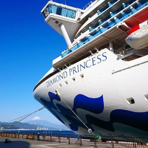 接岸場所から富士山をのぞむ...   清水(静岡)での客船ダイヤモンド・プリンセス