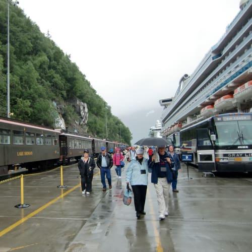 ホワイトパスユーコン鉄道 深い渓谷の中を縫うように走るアラスカ随一の景観を巡るホワイト・バス列車の旅は、海抜0m から1000m まで90分かけて、往復する。途中下車はできない。ホワイトパスでループを描き反対向けに戻ってくる。 ゴールドラッシュの最盛期1898年に建設が始まり1900-1982まで多くの人を乗せて走っていたが、鉱物価格の激しい下落によりいったんは営業を停止したが、1988年強い要望を受け観光列車として復活した。 左が列車、右が船 | スカグウェイ(アラスカ州)での客船サファイア・プリンセス