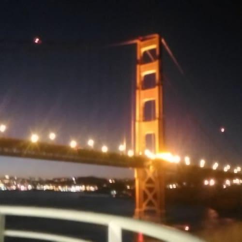 早朝のサンフランシスコ入港。 ゴールデンゲートブリッジ。 | サンフランシスコ(カリフォルニア州)での客船ルビー・プリンセス