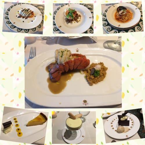最終日に、スペシャリティレストラン、サバティーニでディナーを頂きました。私はオマール海老をメイン、息子は300グラムのステーキをオーダー。デザートは2人で5つオーダーして、ウエイターがびっくりしていましたが、ほぼ完食お腹いっぱい美味しく頂きました。 | 客船ダイヤモンド・プリンセスのダイニング、フード&ドリンク