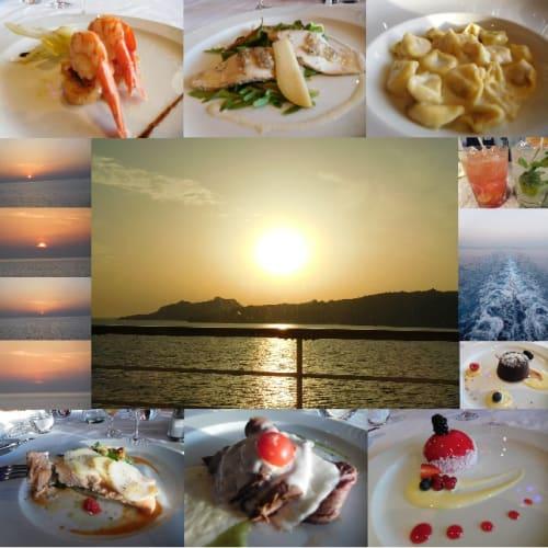 4日目のディナー@アルバトロスレストラン。本日のドレスコードはinformal MASQUERADE(仮面ナイト)。左上から、地中海のシーフードとエビのサラダ、ポークメダリオン・ウォルナッツ・洋ナシとゴルゴンゾーラソースで、トルテリーニパスタ・パルメジアーノチーズとナツメグを一緒に、デッキ&席からの夕景、温かいチョコレートとクルミのケーキ、サーモンステーキ・シシリアの野菜・ポテト・トマトなどを添えて、ローストビーフのスライス・バジルソースで、野生のベリーのババロア | 客船コスタ・デリチョーザのダイニング、フード&ドリンク