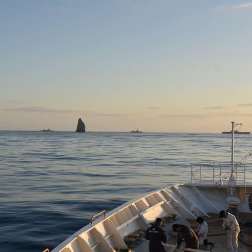 2,500mの海底から聳える海山の頂上という洋上の奇岩・孀婦岩では、海上自衛隊の艦隊と遭遇しました。 | 小笠原(東京)での客船にっぽん丸