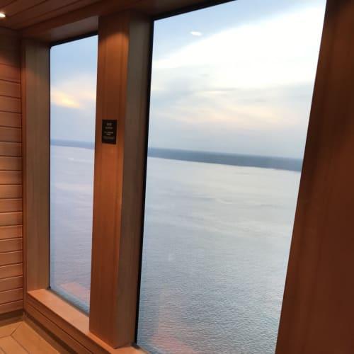 停泊中のポートクラン 海を挟んで森林が広がる風景を楽しめます 船内のどこより、このサウナから見る景色が好きです | 客船ゲンティン・ドリームの船内施設