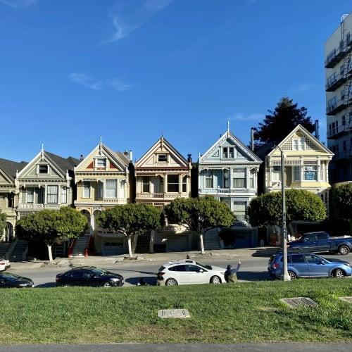 ペインテッドレディー。この辺り周辺は同じ様な雰囲気の素敵なお家が数多くありましたが、この場所は手前が小さな丘の公園になっていて撮影に便利です。 | サンフランシスコ(カリフォルニア州)