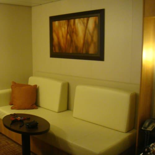 こんな感じでソファーもあった。   客船セレブリティ・イクノスの客室