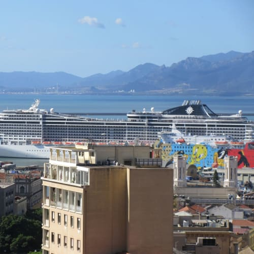 9/24 MSC Divina, viewed from the hill on Cagliari Sardegna island
