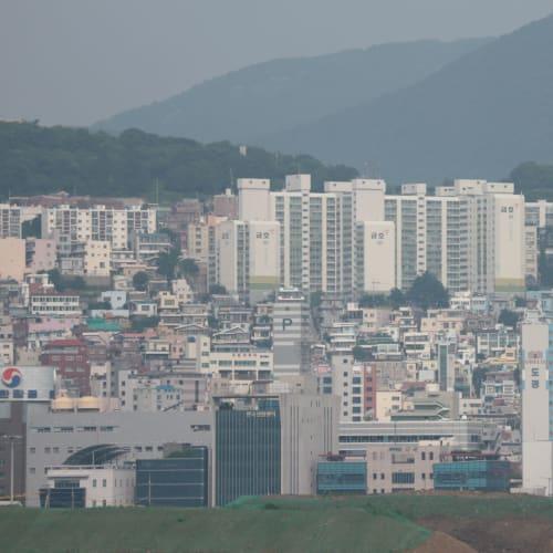 釜山のマンション?バルコニーから   釜山