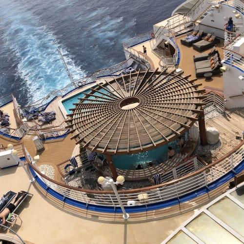 真ん中の大きな丸い屋根のところは、泉の湯の屋外エリアですよ😊 | 客船ダイヤモンド・プリンセスの船内施設