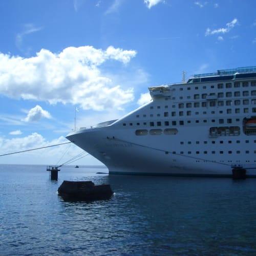 Dominicaのロゾーに到着。簡易バースですが、クルーズ船ターミナルです。   ロゾー での客船サン・プリンセス
