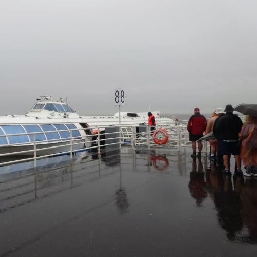 ピュートル大帝の夏の宮殿からサンクトペテルブルグ市内まで乗った水中翼船です。雨が降って真夏とは思えない寒さでした。   サンクトペテルブルク