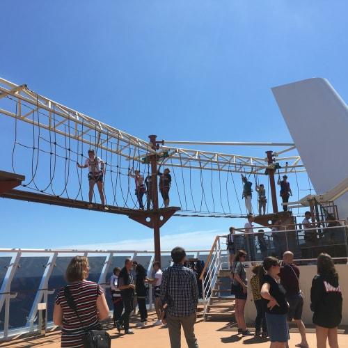 ヒマラヤンブリッジ。 内側外側があり、支柱の足場のところでスイッチできます。 安全の為、支柱と支柱の間一区画にそれぞれ1人で、前の人が次の足場に進んでから進むよう言われました。   客船MSCベリッシマの乗客、船内施設