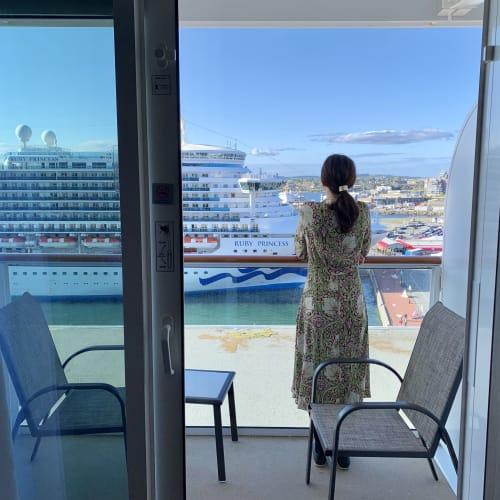 今回はバルコニー付きのお部屋にしました♡   客船ノルウェージャン・ブリスの客室、クルー
