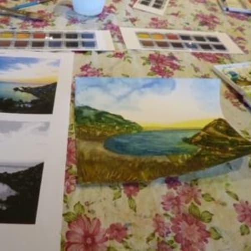 水彩画教室。楽しかった・・。 | 客船クリスタル・セレニティのアクティビティ、船内施設