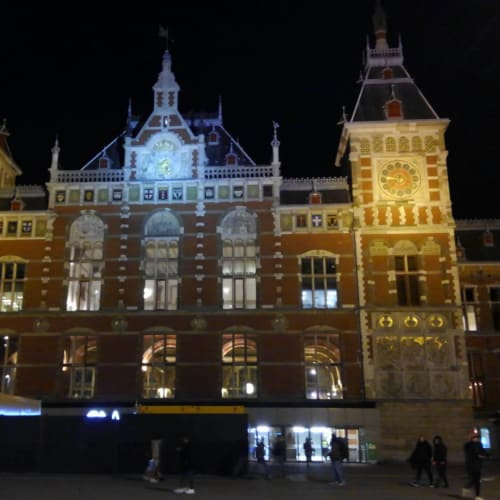 Day7#アムステルダム#中央駅ライトアップ | アムステルダム