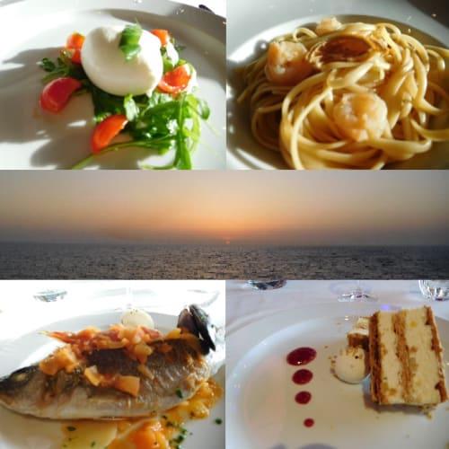 3日目のディナー@アルバトロスレストラン。本日のドレスコードはelegant。左上から、モツァレラチーズの前菜、手長エビのパスタ、デッキからの夕景、スズキのトマトソース海鮮添え、ドルチェ | 客船コスタ・デリチョーザのダイニング、フード&ドリンク