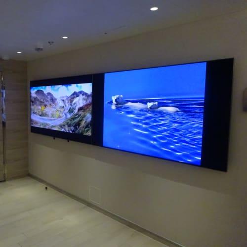 3階の階段の壁には大型モニター2台で、Ponantの渡航先で撮影した自然の景色を投影しています。