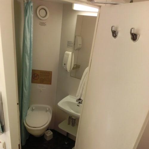 便器にシャワーのカーテンが当たる狭さ。シャワーの際は、周囲を水浸しにしないよう注意。 | 客船スター・パイシスの客室