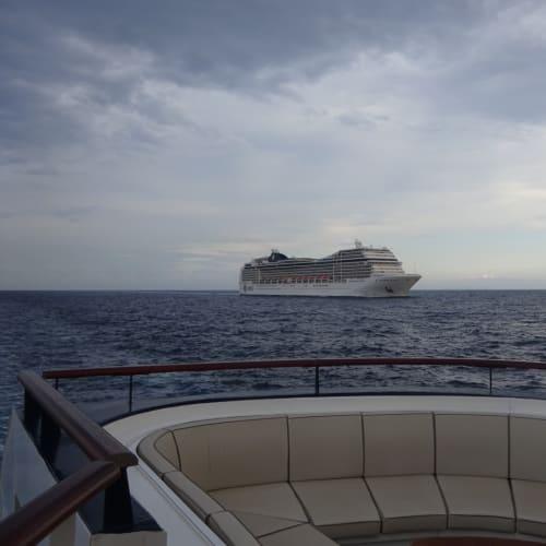 MSCの9.5万トンクラスが追い抜いてきます。 | 客船MSCマニフィカの外観