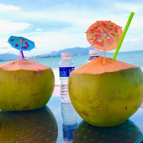 ビーチベッドとセットでついてきたココヤシドリンク | ランカウイ島