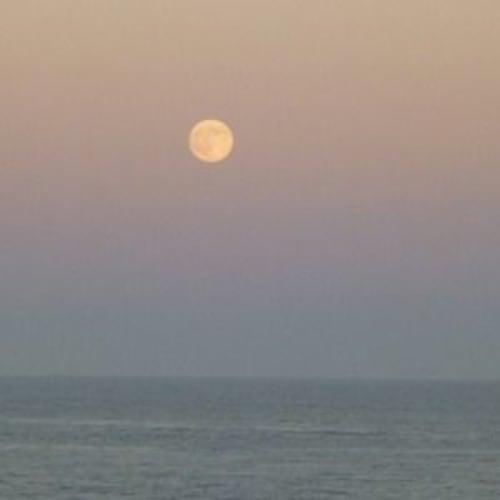 日の出は7時半過ぎのはずなのに7時に見えたのは‥と思ったら月でした。 | リスボンでの客船クリスタル・セレニティ