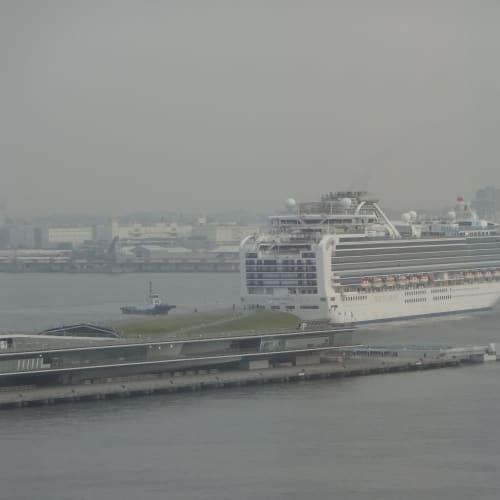 午前6時45分! バックで港に入ってくるダイヤモンドプリンセス ホテルの部屋の窓から見守りました。 | 横浜での客船ダイヤモンド・プリンセス